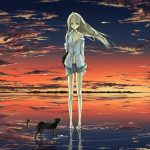 Little girl and pussy anime wallpaper in the sunset