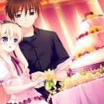 The girl with the guy cut the cake wallpaper