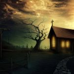 Horror graveyard church 3d landscape desktop wallpaper
