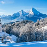 winter snow church mountains wallpaper
