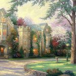 Thomas Kinkade Villa Manor Fine Painting Desktop Wallpaper