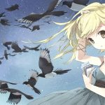 Anime, girl, birds desktop wallpaper