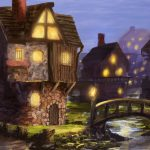 Town still night painting wallpaper