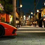 Orange Lamborghini, night, street, desktop wallpaper