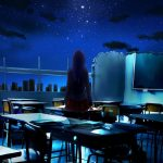 Anime girl desktop wallpaper praying in the ruins classroom under the dark night sky