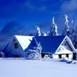 Winter snow covered cottage landscape desktop wallpaper