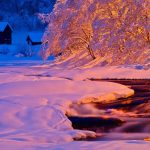 nature winter snow river wallpaper