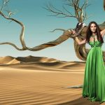 In the desert in a green dress wallpaper