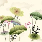 HD elegant lotus ink painting wallpaper