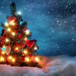 Snow romantic love Christmas tree desktop wallpaper