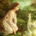 Princess white swan painting desktop wallpaper