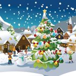 Pretty christmas scene illustration wallpaper