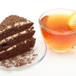 Tea with lemon and cake wallpaper