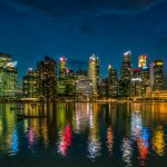 Singapore, skyscrapers, water, evening, city desktop wallpaper