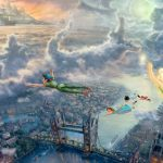 Thomas Kinkade, Tinker Bell and Peter Pan, flying to Neverland, themed movie wallpaper