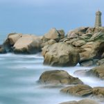 Motion of the Sea, Ploumanach Rocks and Lighthouse, Bretagne, France wallpaper