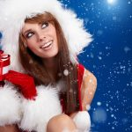 Snow Maiden with a gift wallpaper