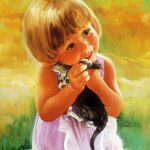 Cute little girl painting desktop background