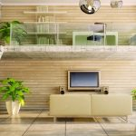 Simple building, middle floor, living room decoration renderings, desktop wallpaper