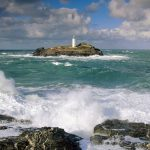 Godrevy Lighthouse and Rough Seas, Cornwall, England wallpaper
