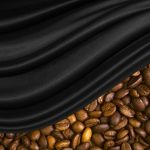Coffee beans covered with black material wallpaper