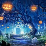 Halloween pumpkin, graveyard, bat picture widescreen wallpaper