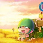 Alone travel cannon artillery cute cartoon desktop wallpaper
