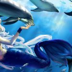 Mermaid and dolphins playing cartoon wallpaper