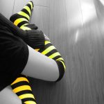Black non-mainstream girls leg socks desktop wallpaper