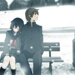 Winter romantic lovers wallpaper