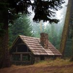 Log cabin landscape desktop wallpaper in the forest