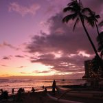 Evening charming Waikiki Beach natural scenery desktop wallpaper