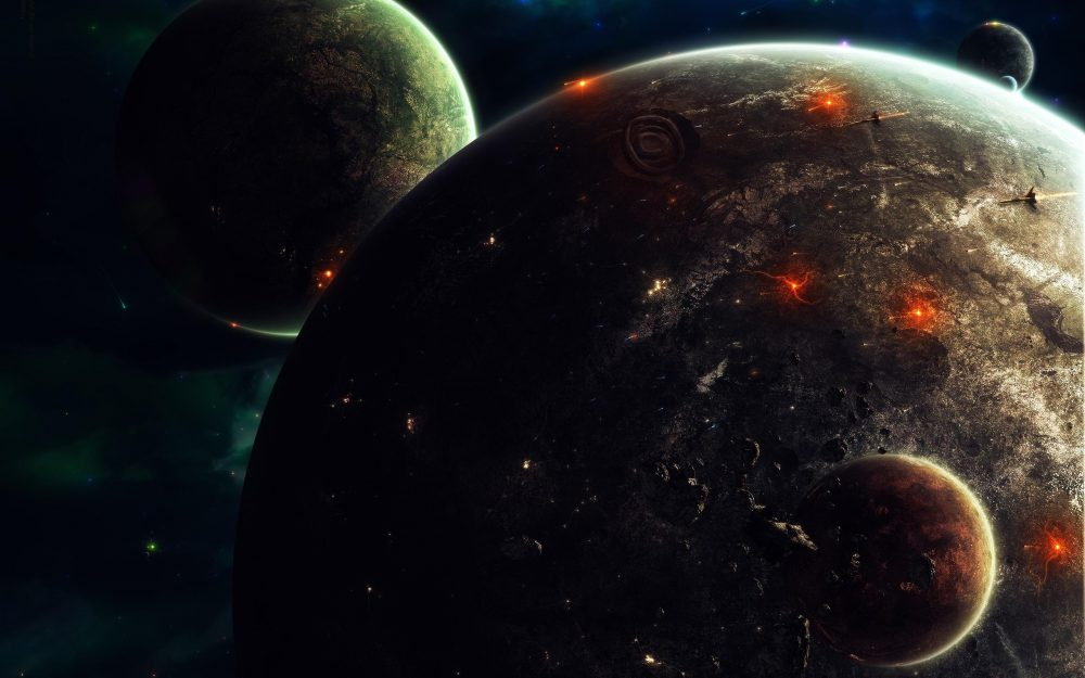 Explosions on the planets hd wallpaper