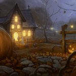 Halloween pictures, Halloween, pumpkins, houses, night widescreen desktop wallpaper