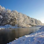 Winter snowy riverside scenery desktop wallpaper