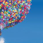 Cartoon flying up on balls hd wallpaper