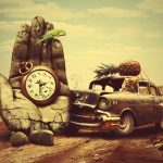 Cat at the wheel, auto, concrete, hand, creative, parrot, watch, desert desktop background
