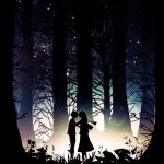 Night grove couple dating cartoon wallpaper