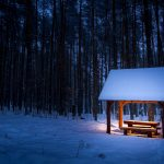 Small pavilion next to the woods in the snow beautiful landscape desktop wallpaper HD download