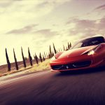 Red Ferrari HD wallpaper on the road