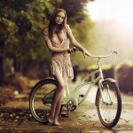Autumn barefoot short skirt girl cycling ride HD wallpaper