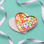 Hearts, box, heart, food, sweet, ribbon, dragee