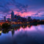 USA, USA, Cumberland River, twilight, Nashville, Nashville, lights