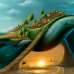 Creative whale castle HD wallpaper download