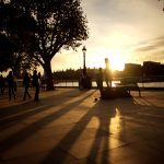 Sunset, embankment, buildings, passers-by, street, evening, benches