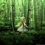 Forest, beautiful, green, girl, anime