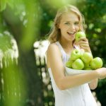 Girl, apples, smile, blonde