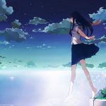 Nice anime girl scenery wallpaper pictures