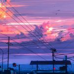 stop, Evening, pillars, cityscape, Alena Aenami, birds, pink clouds, Traffic lights, wires, art, twilight