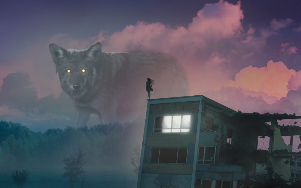 giant, wolf, girl, roof, fog